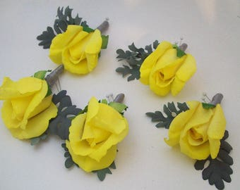 Yellow Boutonnieres - Yellow and Gray Boutonnieres - Real Touch Boutonnieres - Real Touch Roses - Prom Boutonnieres - Yellow Button Holes -