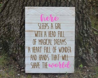 Here lies a girl with a head full of magical dreams - girls room - Rustic decor - Rustic sign - hand painted Pallet sign