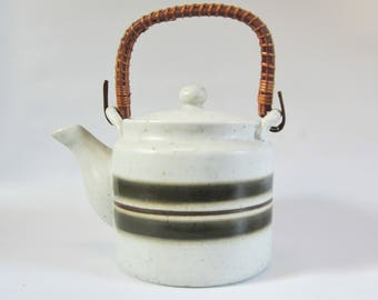 Vintage Teapot Japanese Teapot OTAGIRI STONEWARE Hand Crafted STRIPES with Filter Modern  1QT