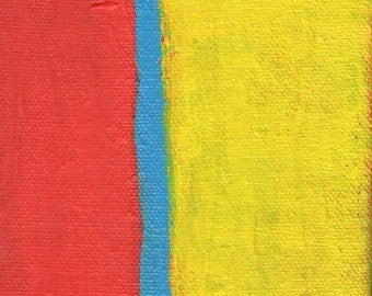 ON SALE Contemporary Abstract Painting 4 x 4 Artist with Autism Red Yellow Blue Wall Decor Art