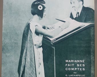 Original Vintage Historical Print,  Marianne, The French Republic, makes her budget 1933, Cover Art Print,  Miroir du Monde