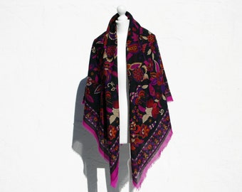 Large floral scarf purle scarf floral shawl purple shawl purple wrap folk shawl boho shawl folk scarf boho scarf country scarf mother gift