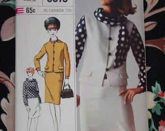 Vintage Pattern c.1965 Simplicity Designer Fashion Suit,Blouse,Scarf Size 12 Uncut