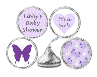 Baby Shower Butterfly 324 Glossy Stickers - Personalized Candy Kiss® - Purple Butterflies Lavender Polka Dot Labels  ** Discounts Available