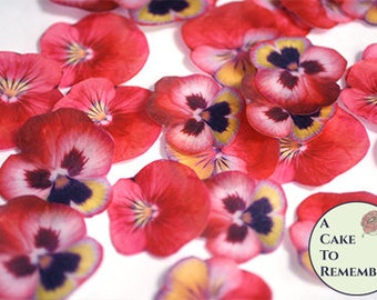 "24 red edible wafer paper pansies, 1.5"" - 2"" wafer paper flower cupcake toppers. Pansy flowers good for vegan cakes and cookies"