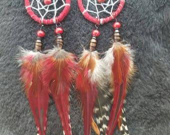 Dream Catcher Earrings - Red
