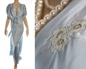Bespoke late 1930's silky soft pretty aqua nylon satin and delicate embroidered floral design motif detail full length nightgown - 4240