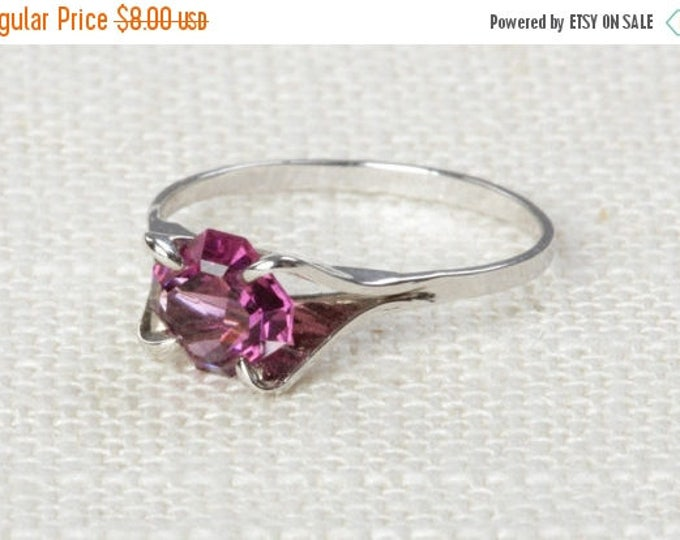 Purple Vintage Ring Rhinestone Gem Silver 6.5 mm or 7.5 mm US Womens Sizes 7D