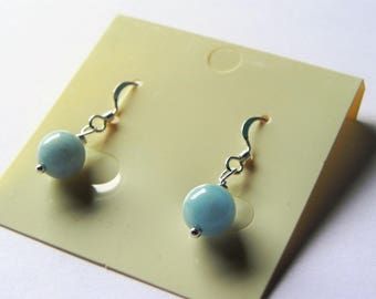 Aquamarine sterling silver drop earrings