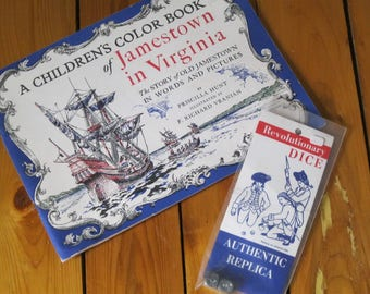 Children's Coloring Book of Jamestown in Virginia and Revolutionary Authentic Replica Dice
