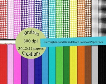 ON SALE Herringbone and Houndstooth Rainbow Digital Paper Pack 300 dpi 12x12 30 papers For Personal or Commercial Use