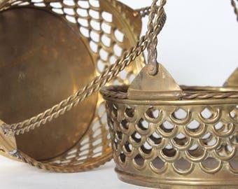 Vintage Brass Baskets Set of 2