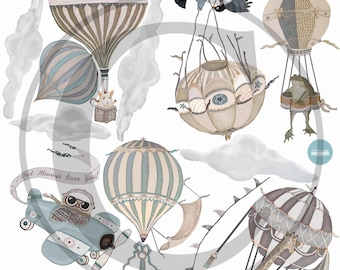 NEW! Med. Neutral Hot Air Balloon & Animals, set of 6, 5 Clouds, Owl, nursery, baby, hand painted look, Repositionable fabric Wall decals