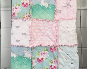 Crib Rag Quilt Baby Girl Crib Bedding Unicorn Nursery Pink Mint Gray Nursery French Nursery