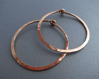 1 inch Rose Gold Hoop Earrings Hammered Gold Earrings