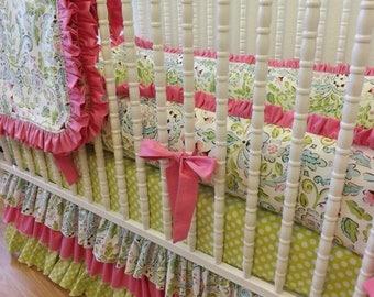 SUMMER SALE-- Girl Crib Bedding- Baby Bedding- Lovebird Damask Baby Bedding- MADE To Order- Crib Bedding Set