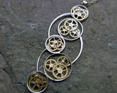 "Clockwork Pendant ""Berloi"" Cascading Recycled Mechanical Watch Gear Necklace Elegant Steampunk Assemblage by A Mechanical Mind"