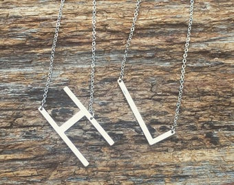 Sideways Initial Necklace - Large Sideways Initial Necklace - Letter Necklace -Layering Necklace - Silver Personalized Letter Necklace