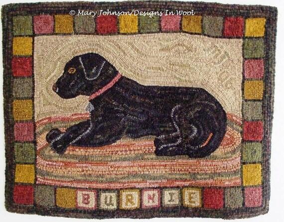 """Rug Hooking PATTERN, Burnie the Labrador, 24"""" x 32"""", J630, Hooked Dog Rug, Black Dog Rug, Primitive Hooked Rug Pattern"""