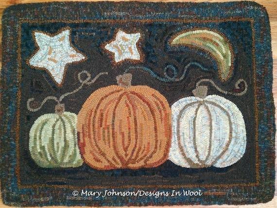 """Rug Hooking PATTERN, Pumpkin Trio, 20"""" x 26"""", J850, Pumpkin Hooked Rug, Folk Art Pumpkins,  DIY Rug Hooking"""