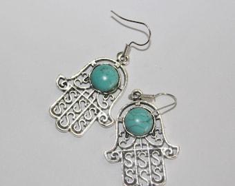 Hamsa earrings, evil eye charm earrings, charm earrings, dangle hamsa earrings, Hamsa charm, evil eye earrings, silver hamsa earrings