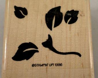 Stampin Up Bold Rose Leaf Leaves 1996 Wooden Rubber Stamp