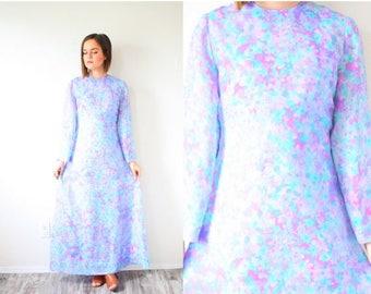 20% OFF JULY 4th SALE Vintage long sleeve purple floral dress // 80's modest dress // boho long sleeve 60's dress // fall bohemian floral mo