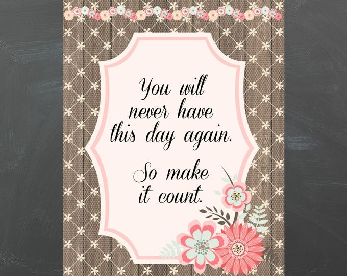 vintage style digital greetingcard with quote, pink, brown and beige retro style greeting card, cabin style greeting card, shabby chic