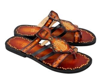 Handmade Leather Slides,   Sun And Moon Flat Slip On,  Handpainted Sandals, Boho Sandals - IMAGINATION