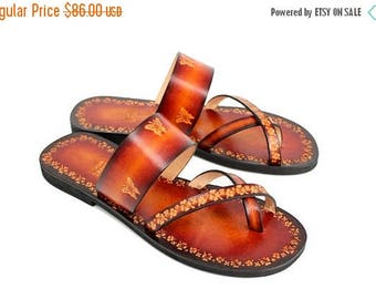 ON SALE Women Slide On Flat Sandals, Hand Painted Leather Sandals, Comfy and Lovely Ladies Handmade Slides, Burnished - BRIGITA