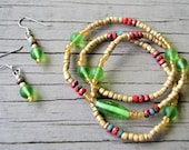 GOLD SEEDBEAD SET Bracelet Earrings Set Seedbead Wrap Bracelet Matching Earrings