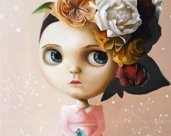Big eyed girl with bird, PRINT pop surrealism painting, Girl portrait, wall decor, little girl, queer art, fairy tale whimsical art