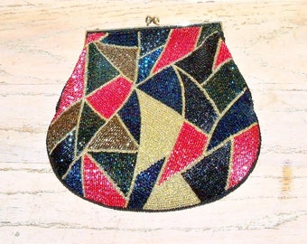 Beaded Purse Bag Handbag Signed Jeromes Retro Vintage Multicolor Rainbow Winter Christmas Wedding Bridal Party Prom Gift Guide Women