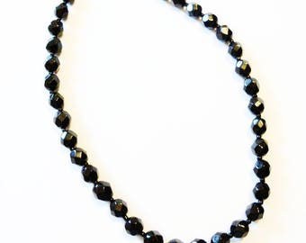 Necklace Signed Western Germany Jet Black Glass Beads Vintage Wedding Jewelry Jewellery Waldorf Cottage Chic Gift Guide Women