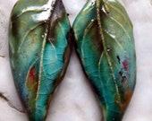 Ceramic Super Slim Leaf Earring Charms #25