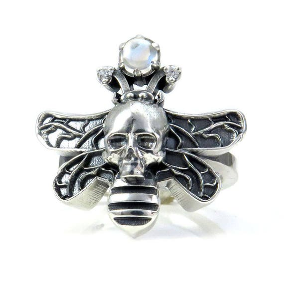 Moth Man Ring - Sterling Silver with Moonstone Orb - Large Cocktail Ring