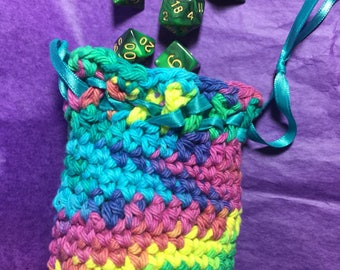 Ready to ship Rainbow colors Crochet dicebag with 7 piece gaming dice set green