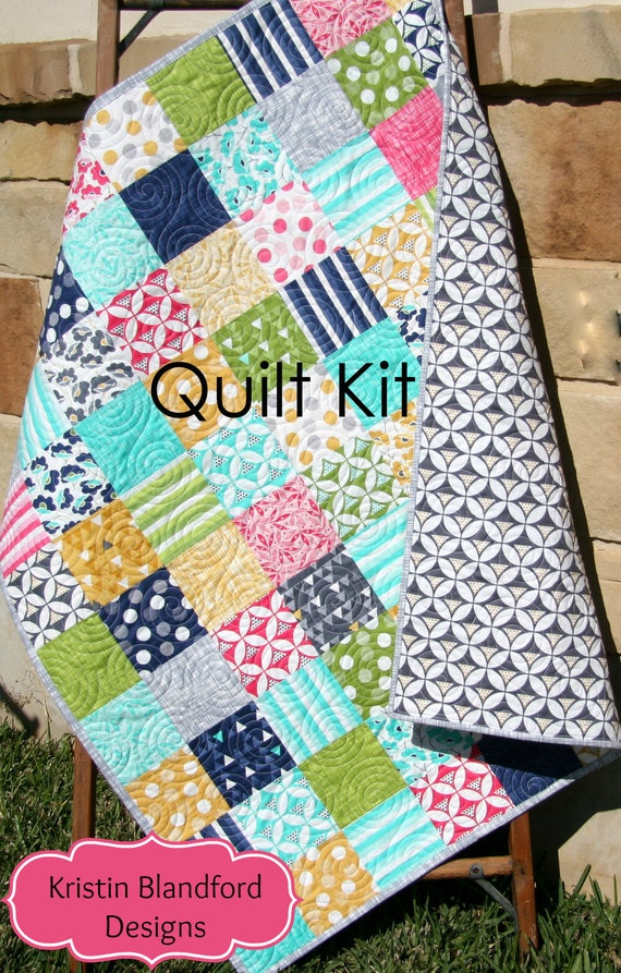 Last one modern quilt kit moda fabrics color theory vandco craft project pink aqua grey simple - Do it yourself moda ...