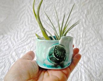 Ceramic Planter, succulent planter, cactus planter, Air Plant Holder, Turquoise aqua, pottery planter, ring bowl, salt bowl, treasure bowl