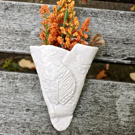 Wall pocket, white planter, hanging planter, tiny planter, ceramic wall pocket, textured planter, holiday planter, holiday ornament, lace