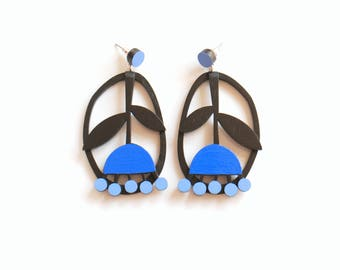 Black and blue Plywood floral earrings