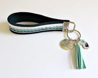 NEW JERSEY Key Fob   Key Chain Wristlet   Vintage Silver Charm   New Jersey Silver Charm   Beach Charms