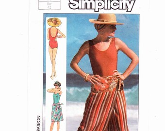 Simplicity 7583 Misses Front-Wrap Skirt In Two Lengths and Swimsuit- Swimsuit Sized For Stretch Knits Only UNCUT