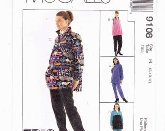 McCalls 9108 Sizes 8-10-12  Maternity Tops, Vest & Pull On Pants UNCUT Sewing Pattern