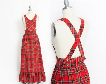 Vintage 1960s Jumper - Red plaid Full Length Maxi Skirt Bib Dress - XS Extra Small