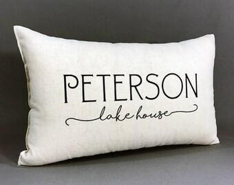 Personalized Family Lake House Pillow, Lake House Decor, Personalized With Family Name, Housewarming Gift