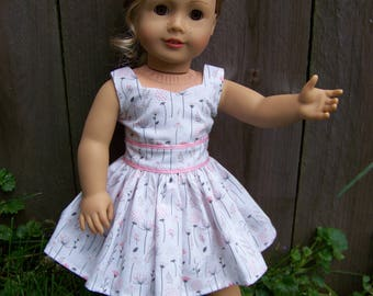 Simply Spring Pink Floral Sundress for 18 inch American Girl Dolls