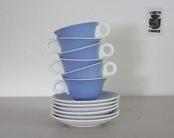 French Art Deco Digoin Cups and Saucers Art Deco Blue Set of 6