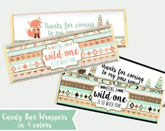 Wild One Candy Bar Wrappers - 4 colors - Printable - Wild One - Wild and Three - Two Wild Coral Pink Teal Purple - Download Instantly