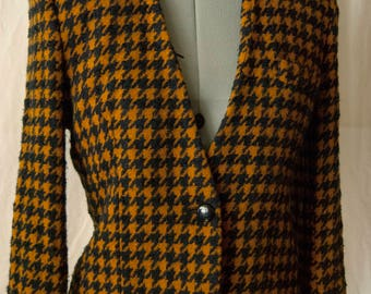 Wool Houndstooth Collarless Blazer